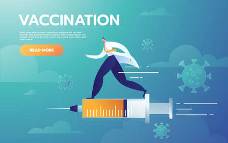 Male Doctor represent injection treatment flying with Vaccine syringe, vaccinated vector flat cartoon style
