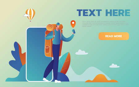 Navigation on your smartphone. Tourist man is guided in an unfamiliar place with help phone. Vector illustration in cartoon style