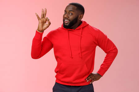 Guy hold everything under control assuring customer show okay sign. Portrait charismatic cheeky black bearded man say ok smiling assured confident you look perfect, standing pleased pink background