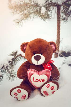 valentine s day teddy bear: Fluffy cute soft toy teddy bear with heart love in snow closeup Stock Photo