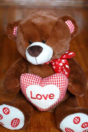 saint valentine   s day: Fluffy cute soft toy teddy bear with heart love