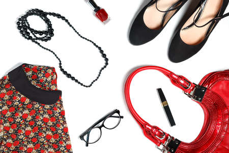 leather bag: Female clothes and look essentials - silk blouse, black high heels, red leather bag, red lipstick, glasses