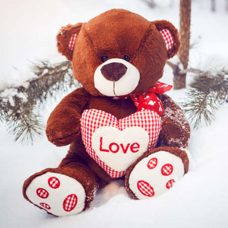 Fluffy cute soft toy teddy bear with heart love in snow closeup Stock Photo