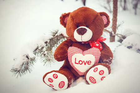 saint valentine   s day: Fluffy cute soft toy teddy bear with heart love in snow closeup Stock Photo