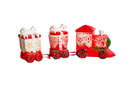christmas train: Toy red christmas train isolated on white background