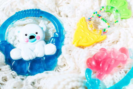 Set of teethers for newborn baby, selective focus Stock Photo