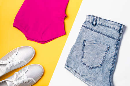 Woman fashion collection. Colorful summer female clothes, sport style 版權商用圖片