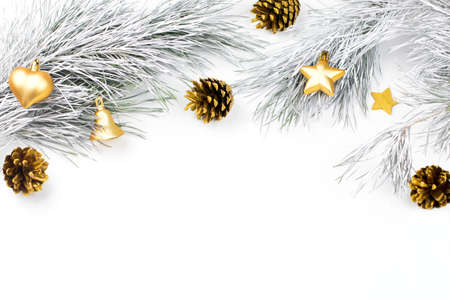 christmas border with fir branches conifer cones christmas stock