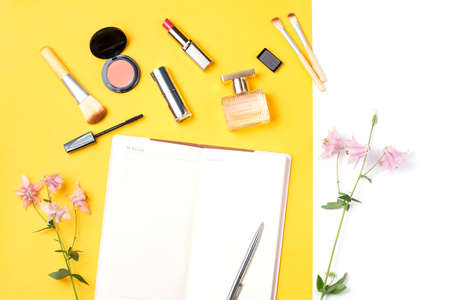 Beauty blogger objects flat lay. Beauty products and stylish female accessories on pastel background Stock Photo