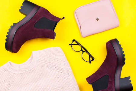 Woman autumn clothes and accessories flat lay
