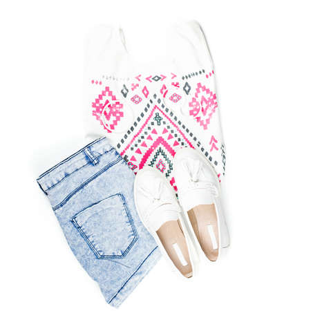Woman summer clothes and fashion accessories flat lay.