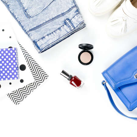 Fashion blogger workspace with woman accessory, cosmetics shoes and diary. Flat lay, top view Stock Photo