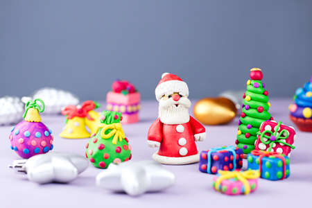 christmas background with decorations santa christmas train with tree and sweets snowman