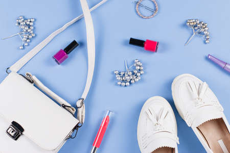 Woman shoes, purse and cosmetics flat lay. Female autumn fashion concept