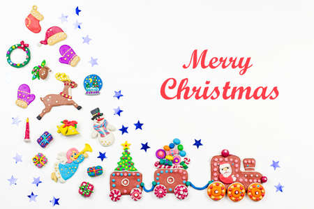 Christmas background with decorations. Santa, Christmas train with tree and sweets, snowman, reindeer and gifts on white background.