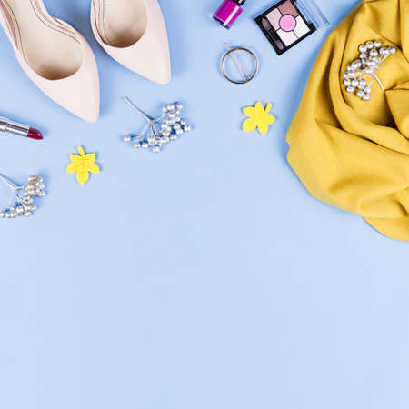 Woman fall clothes and accessories flat lay. Female autumn fashion concept.