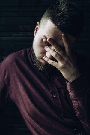 Portrait of sad, sick man. Concept of problems
