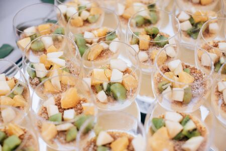 wedding dessert on the tablewith fresh fruits Imagens