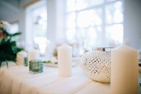 Tables decorated for a party or wedding reception, wedding diy
