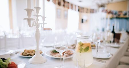 elegant table setting with food for wedding party