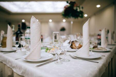 elegant table set for a dinnerin a restaurant