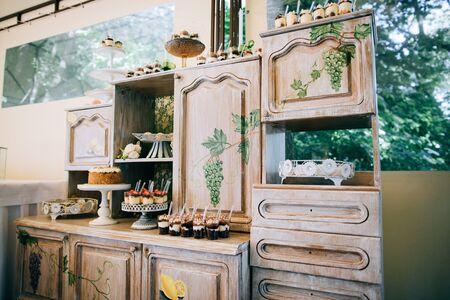 Delicious wedding candy bar, dessert table