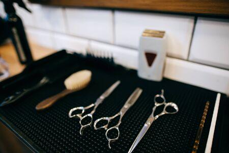 Hairdresser's tools, scissors in the hairdressing salon
