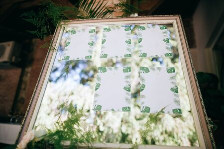 Wedding mirror board with guest list, wedding decoration Zdjęcie Seryjne