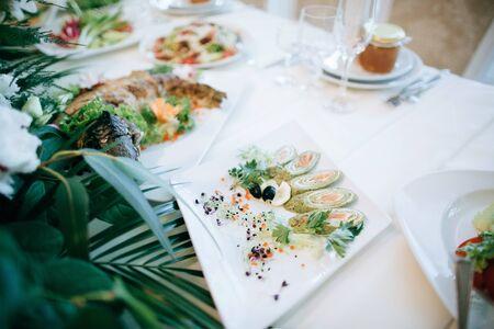 festive wedding table settingwith food
