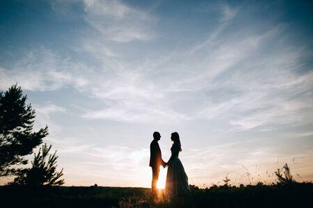 bride groom silhouette. love concept