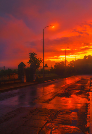 artificial lights: Atmosphere of a rainy day Stock Photo