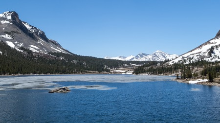 Landscape of a frozen lake in Yosemite National Park photo