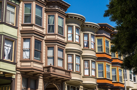 Victorian houses in San Francisco Stock Photo