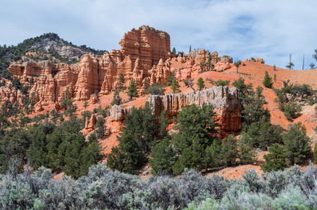 red bluff: View at the entrance to the Bryce Canyon National Park