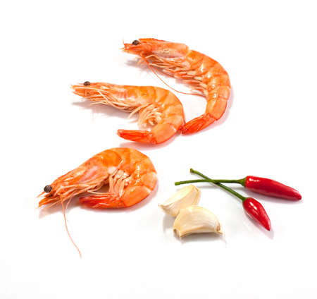 Shrimp, garlic and red chilli peppers  Stock Photo
