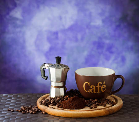 Coffee on a purple background  Imagens