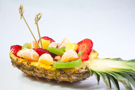 Fruit salad inside an ananas Stock Photo - 9491147
