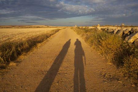 camino de santiago: Pilgrim shadows on the way of St. James