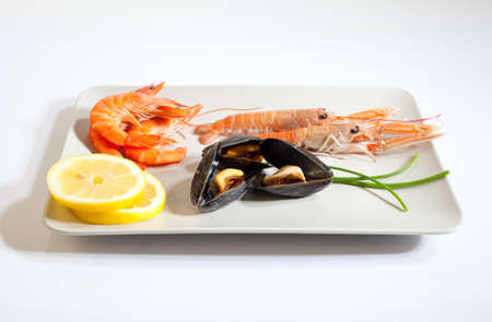 Delicious Appetizer with Shrimp, scampi, mussel and lemon