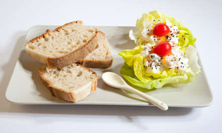 Bread cheese, tomatoes and lettuce photo