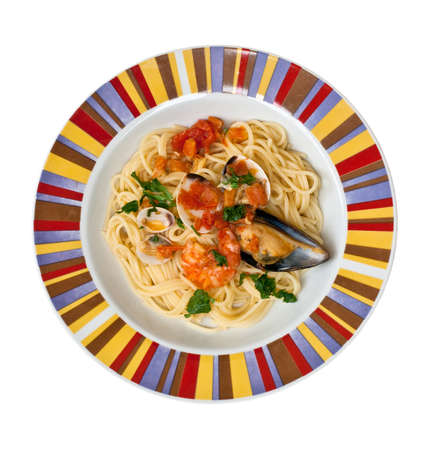 Italian pasta with mussels and other seafood