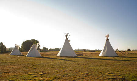 plains indian: Native American Tee Pees in the morning