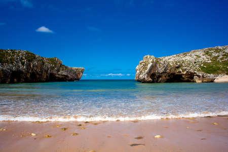 clearness: Beach of Cuevas del Mar, Nueva de Llanes - Asturias in Spain