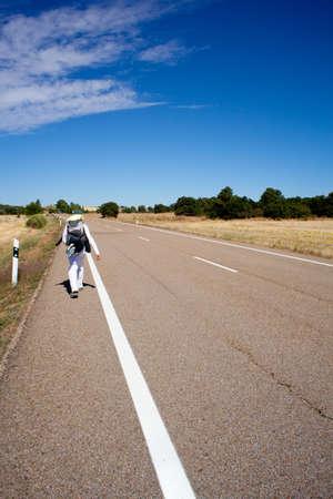 Pilgrim along the Way of St. James Stock Photo - 9747571