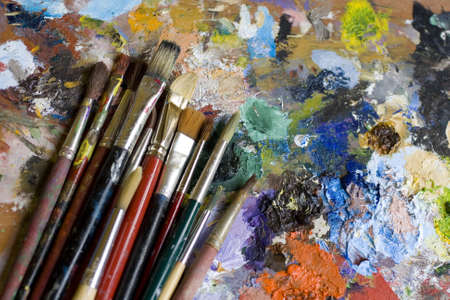 oil paints: Pinceles Foto de archivo