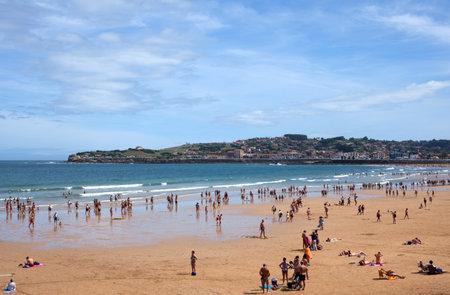asturias: People in the beach of Gijon, Asturias - Spain Editorial