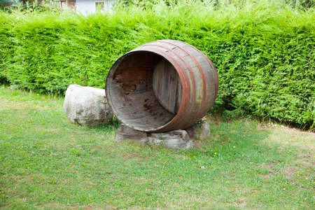 Old open barrel in the garden Stock Photo - 9936663