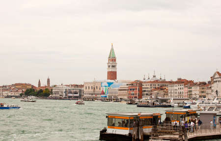 Seaview of  belltower in the city of Venice