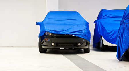 covered: Car covered by a blue sheet