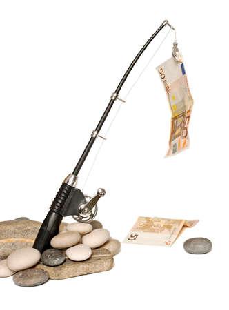 Canne à pêche pour pêcher les factures d'euros Banque d'images